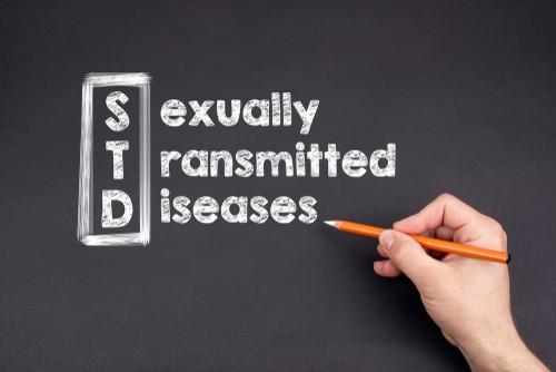 STDs written on black background
