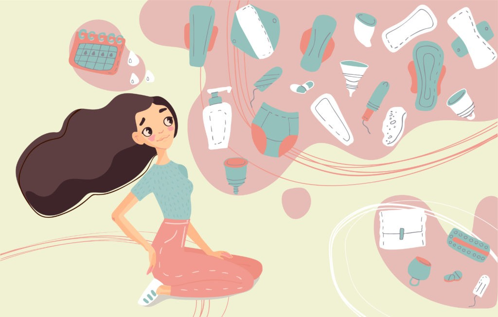 female cartoon thinking about menstrual products