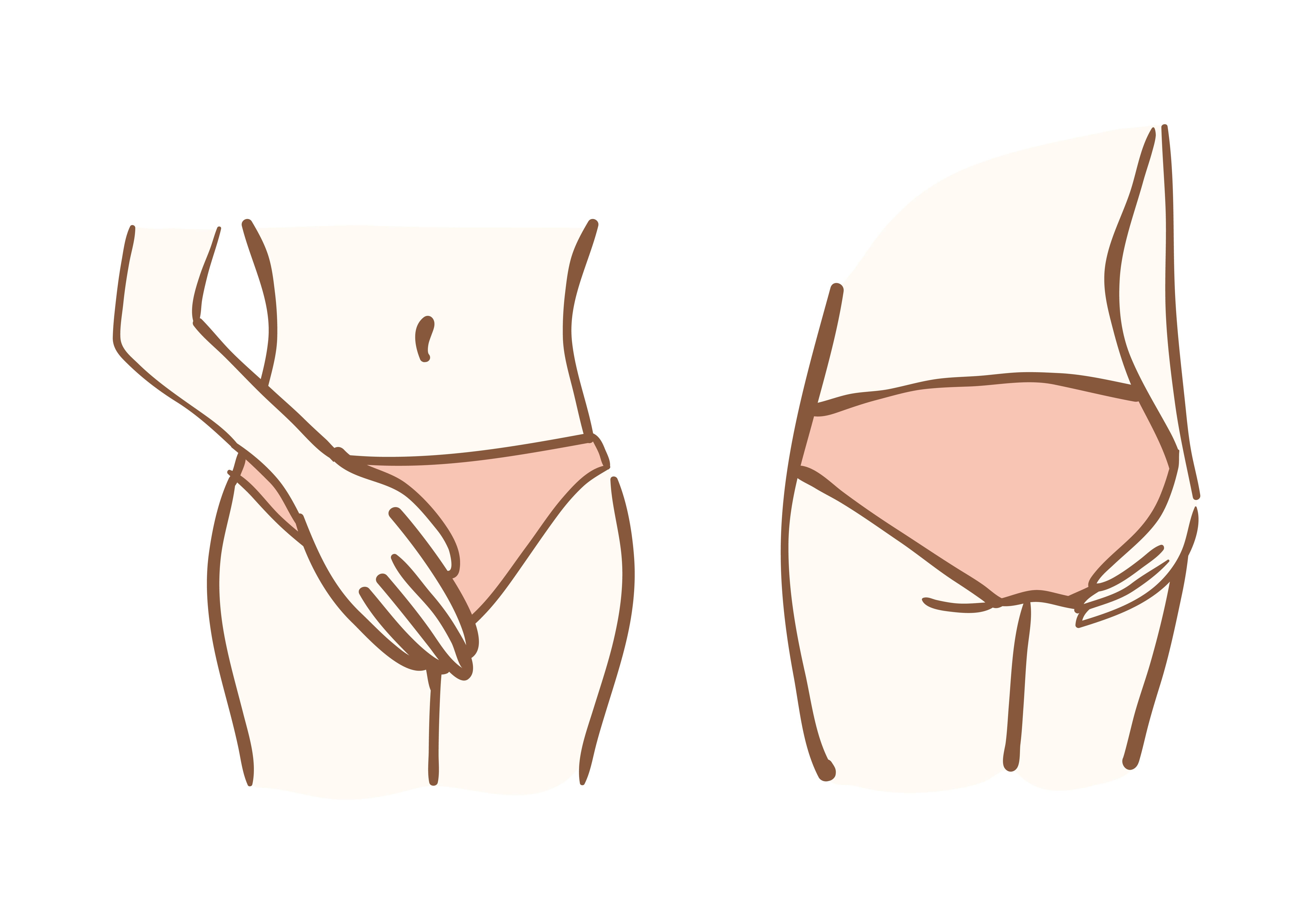 cartoon representing female intimate area