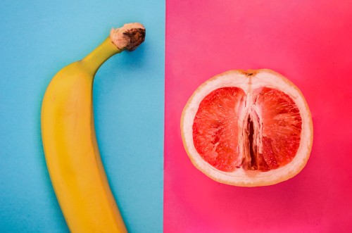banana and grapefruit representing vagina and penis
