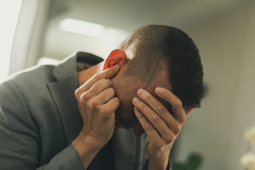 man with hearing disability