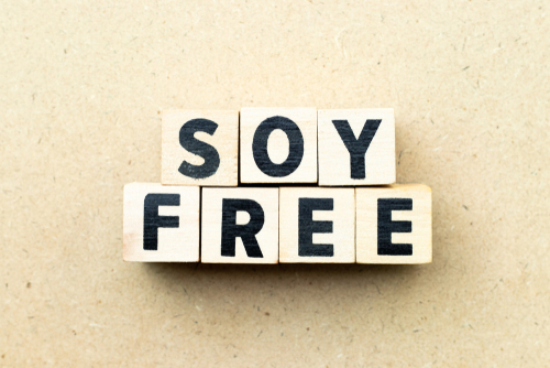 Soy free written on a dull yellow background