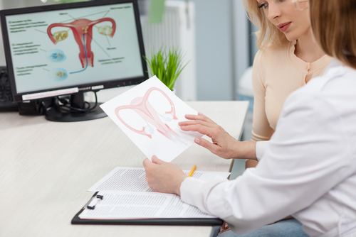 woman at gynecologist-gynecologist examining uterus after D&C