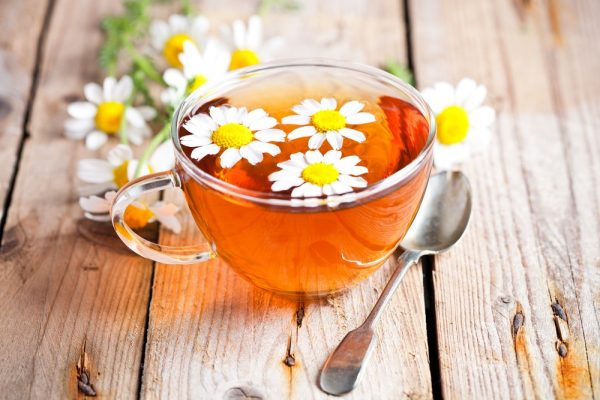 chamomile tea with flower petals