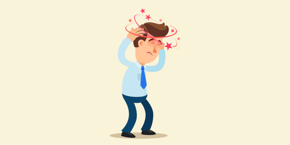 man dealing with dizzines