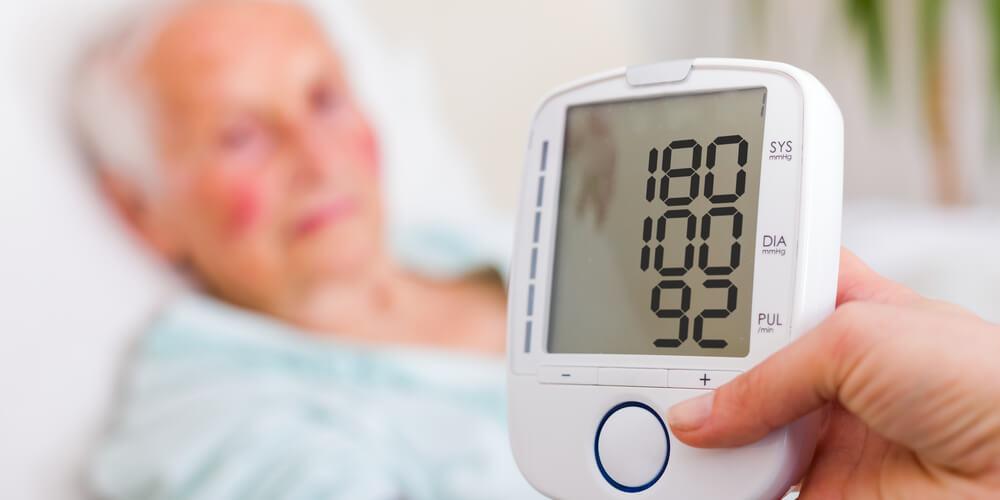 old woman having High Blood Pressure