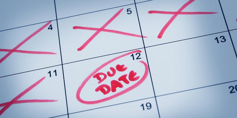 Due date written on calendar