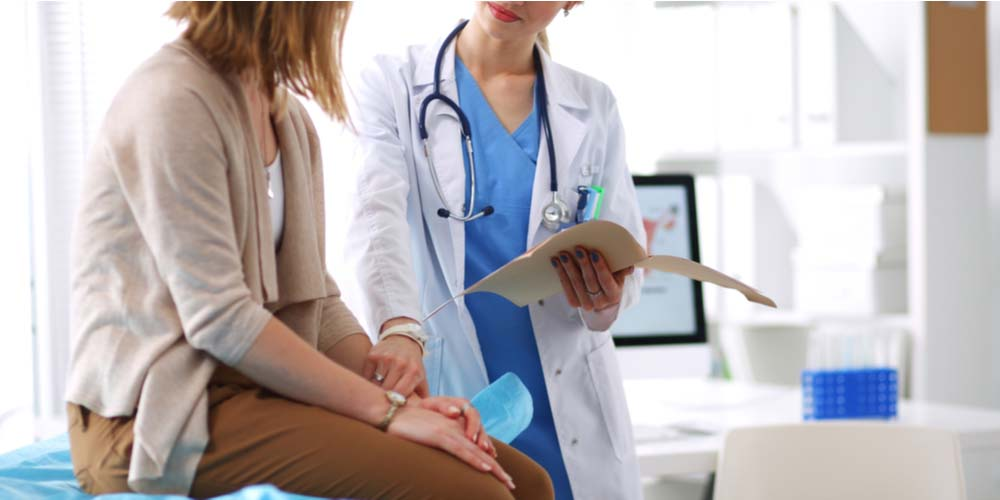 female at gynaecologist for PID