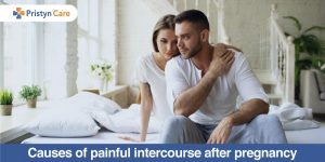 Upset couple facing the problem of painful intercourse after pregnancy